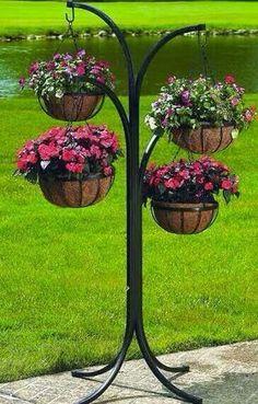CobraCo – Plant Stand Tree w 12 in. Hanging Baskets in Black CobraCo – Plant Stand Tree w 12 in. Hanging Baskets in Black Plant Stand, Hanging Plants, Plants, Garden, Garden Planters, Backyard Landscaping, Garden Decor, Backyard Garden, Outdoor Plants