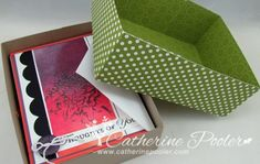 This box is great for giving a set of cards as a gift.  Tutorial and video on how to make it and how to figure out measurements for any size box!  http://catherinepooler.com/2013/05/how-to-make-a-box-to-put-cards-in-116-rule-of-box-making/