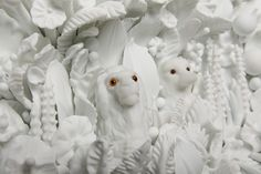 The Lion and the Fox - flameworked milk glass by Amber Cowan