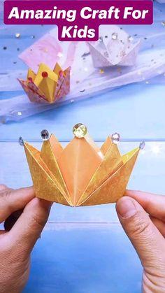 Cool Paper Crafts, Paper Crafts Origami, Diy Crafts Hacks, Diy Crafts For Gifts, Diy Crafts Videos, Fun Crafts, Crafts For Kids, Diy Paper, Instruções Origami
