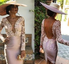 Short Mother of the Bride Dresses Knee Length Lace Long Sleeve Backless Women Fomal Occasion Wedding Cocktail Party Gowns Plus Size Evening Gown, Evening Dresses, Formal Dresses, Bride Dresses, Long Cocktail Dress, Derby Outfits, Mode Chic, Party Gowns, Mermaid Dresses
