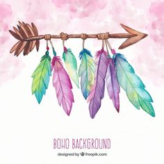 Boho background with feathers in watercolor style Free Vector Dreamcatcher Wallpaper, Watercolor Background, Watercolor Paintings, Dream Catcher Art, Feather Art, Background Patterns, Boho Background, Art Drawings, Sketches