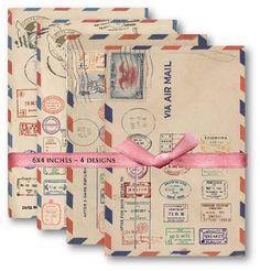 Digital Papers Air mail Vintage Postal Stamps Digital Collage Sheet Download Scrapbooking Supplies Set 471