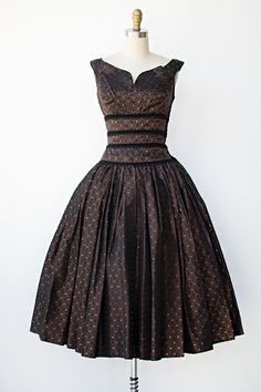 brown dress with white dots