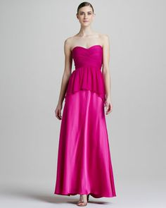 Shop Strapless Peplum Combo Gown from Aidan Mattox at Neiman Marcus Last Call, where you'll save as much as on designer fashions. Designer Formal Dresses, Designer Gowns, Formal Gowns, Strapless Cocktail Dresses, Strapless Dress Formal, Rosa Style, Aidan Mattox, Floor Length Gown, Pink Fashion