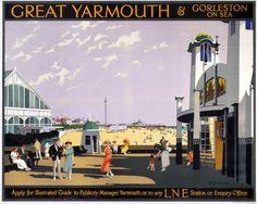 ENGLAND - Norfolk - Great Yarmouth Vintage UK Railway Poster