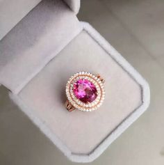 Eye Catching Sparkling Pink Topaz Halo Engagement Wedding Ring in Rose Gold and Silver Colors [100446] - $93.99 : jewelsin.com