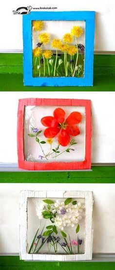 """Krokotak flower panels nature craft for kids. How to make flower panels from real flowers, cardboard & plastic wrap. Projects For Kids, Kids Crafts, Art Projects, Arts And Crafts, Garden Crafts For Kids, Kids Nature Crafts, Camping Crafts For Kids, Art Crafts, Nature Activities"