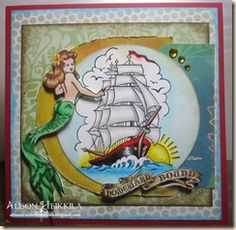 Card Positioning System's Sketch #256 with Bombshell Stamps by Alison Heikkila