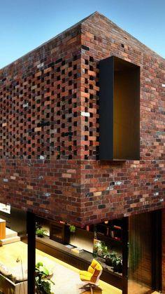 Matt Gibson extends Melbourne terrace with glazed kitchen undercroft Melbourne Architecture, Brick Architecture, Architecture Details, Chinese Architecture, Architecture Office, Futuristic Architecture, Brick Design, Facade Design, House Design