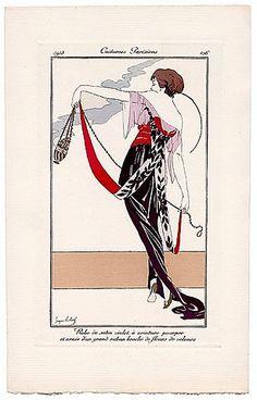 George ROBERTS 1913 Journal des Dames et des Modes Costumes Parisiens Pochoir N°106 Elegant Parisienne
