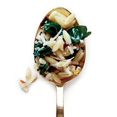 Orzo with Garlicky Spinach | MyRecipes.com  Add spinach and feta chicken sausage from the grocery store to make a full meal