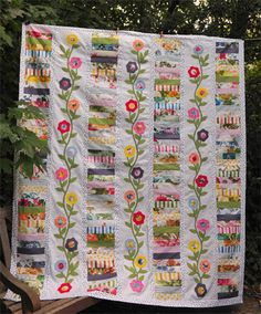 scrappy stacked vintage quilt top by nanotchka, via Flickr