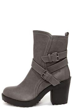 Soda Shena Grey High Heel Boots