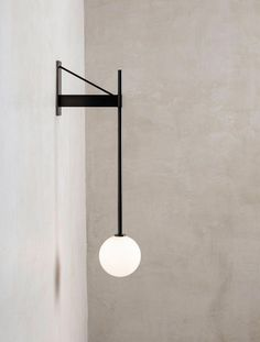 Bastion Wall Lamp - Geometric architectural structure supports a handblown globe that has a glass threaded system - Interior Lighting, Modern Lighting, Lighting Design, Blitz Design, Luminaire Vintage, Origami Lamp, Bedroom Lamps, Wall Lamps, Hanging Lamps