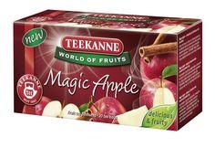 """Magic Apple – kusząca i wyśmienita mieszanka herbat owocowych. Ciesz się smakiem soczystych, dojrzałych na słońcu jabłek, które zostały zmieszane z delikatnym cynamonem i innymi starannie dobranymi składnikami tworząc tę unikatową i wykwintną kompozycję herbat owocowych. TEEKANNE """"Magic Apple"""" przynosi Ci wspaniałe chwile przez wszystkie pory roku."""