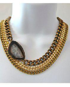Multi-Chain Agate Necklace.