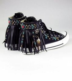 Mohawk Studded Converse Hi-Top sneakers by Kettle Black