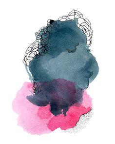 Large Art Print Set Abstract Watercolors Pair of by AdriLunaStudio