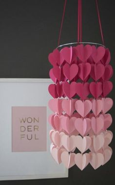 Items similar to Magenta Pink Modern Ombre Heart Paper Mobile Chandelier on Etsy,Nursery Magenta Pink Modern Ombre Heart Paper Mobile Chandelier How to decide on a lamp for family room and bedroom? Nearly all folks have main ligh. Arts And Crafts For Adults, Arts And Crafts House, Easy Arts And Crafts, Crafts For Seniors, Diy Home Crafts, Paper Mobile, Arts And Crafts Storage, Art And Craft Videos, Magenta