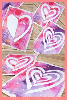 Notan Heart Art - The Kitchen Table Classroom : Notan cut paper heart art with pink watercolor background Explore the Japanese concept of Notan with this cut paper heart art project! Valentines Art For Kids, Valentine Day Crafts, Valentine Decorations, Valentines Art Lessons, Watercolor Heart, Watercolor Background, For Elise, 3rd Grade Art, Winter Crafts For Kids