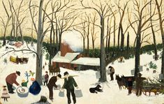 Bringing in the Maple Sugar. Oil on pressed wood. Signed, lower right. Kallir Copyright © Grandma Moses Properties Co. Grandma Moses, Hunters In The Snow, Country Scenes, Kindergarten Art, Naive Art, Elementary Art, American Artists, Art World, Art Lessons