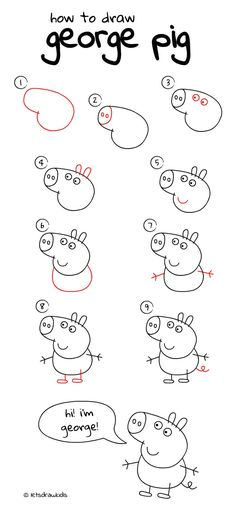 How to draw George pig. Easy drawing, step by step, perfect for kids! Let's draw. - - step by step easy kids How to draw George pig. Easy drawing, step by step, perfect for kids! Let's draw… – Top Trends Easy Flower Drawings, Easy Drawings For Kids, Butterfly Drawing, Art For Kids, George Pig, Easy Drawing Steps, Step By Step Drawing, Drawing Tips, Drawing Drawing