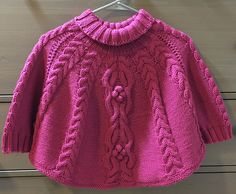 """Ravelry: Temptation Poncho and Hat Set pattern by Tatsiana Matsiuk [ """"Temptation poncho and hat set is stylish and super cosy clothing for your little one. It is designed to keep your little one away from wind and cold. Poncho Au Crochet, Poncho Knitting Patterns, Knit Patterns, Knit Crochet, Diy Crafts Knitting, Knitting For Kids, Baby Knitting, Knitting Projects, Ravelry"""
