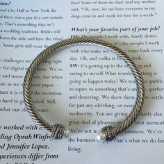 DY inspired cable bracelet Designer inspired cable pearl bracelet- never worn- silver cable and pearl Jewelry Bracelets