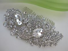Bridal Rhinestone hair comb,bridal hair accessories,wedidng hair comb rhinestone,bridal hair comb crystal,bridal comb,wedding headpieces. $55.00, via Etsy.
