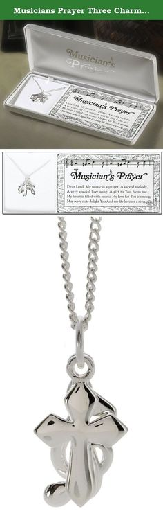 Musicians Prayer Three Charm Necklace. Anyone who likes to make music to God will cherish a gift of this necklace, beautifully gift boxed with the poem Musician's Prayer. Three silver plated pendants, a cross, a treble clef, and a musical note, each measure about 5/8 inch long. The chain is 18 inches. Makes a wonderful appreciation gift for musicians in your church. Musician's Prayer poem is copyright Dicksons, Inc.