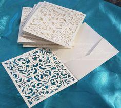 10 Laser cut pocket DIY invitations wedding birthday folded card