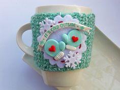 Mug Cozy Winter Wonderland yarn polymer clay от OaksAndOwls