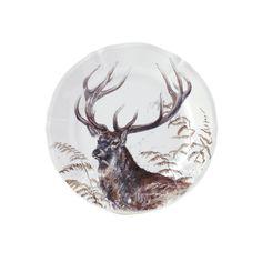 Set of 4 Sologne Deer Dessert Plates - White - Gien Decoration, Christmas Bulbs, Moose Art, Gien, Holiday Decor, Tableware, Dessert Plates, Spanish, Mexican