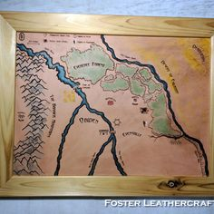 An old school handdrawn-on-letter-paper map turned into a large, carved wall hanging Leather Craft, The Fosters, Old School, How To Draw Hands, Carving, Map, Lettering, Products, Leather Crafts