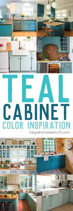 Teal Cabinet Paint Color Inspiration is part of Teal Kitchen cabinet - Painting your cabinets a fun shade of teal might feel like a big risk but with big risk comes big reward! Take a look at these gorgeous teal kitchens Teal Kitchen Cabinets, Painting Kitchen Cabinets, Kitchen Paint, Home Decor Kitchen, New Kitchen, Kitchen Counters, Repainting Cabinets, Turquoise Cabinets, Kitchens