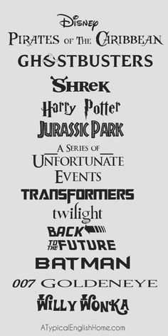 A Typical English Home: Free Movie Fonts