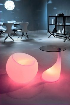 Glowing chair and table.
