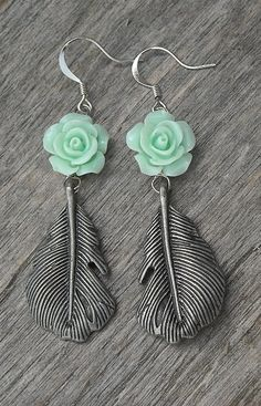 Mint Green Rose Feather Earrings