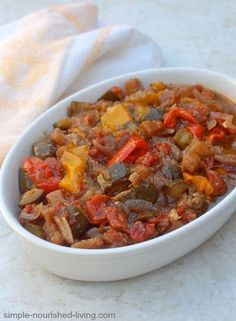 Slow Cooker Ratatouille is an easy, healthy vegetable stew from Provence that the whole family loves, 81 calories, 1 Weight Watchers Freestyle SmartPoint!