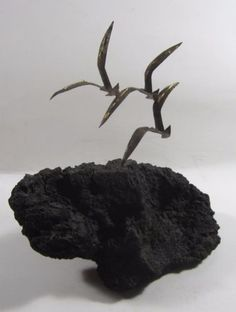 #Art #Sculpture: Mid Century Modern Sculpture Brutalist Metal Birds Seagulls  In Flight Jere