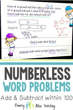These numberless math word problems will help your students accurately solve all types of addition and subtraction word problems within They come in a paperless, digital version and a printable version. Teachers LOVE them! Get your set today! First Grade Lessons, First Grade Activities, Teaching First Grade, First Grade Math, Math Lessons, Math Fact Practice, Math Fact Fluency, Math Lesson Plans, Math Word Problems