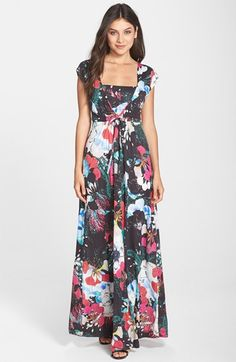 French+Connection+'Floral+Reef'+Print+Cap+Sleeve+Maxi+Dress+available+at+#Nordstrom