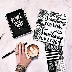 Sometimes you win... sometimes you learn. ❤️   Can I get a what what?! Anyone else (other than me) live & learn this more times than one could count?  Cheers to my fellow learners! Sending GIANT warm hugs your way! ❤️ ➖  Pen:  @tombowusa black dual brush pen sent to me as a Tombow Professional Brand Ambassador  Planner & Stickers:  @the_happy_planner mini planner @meandmybigideas stickers  Notebook:  Wrote note on long skinny unlined notebook from @amytangerine  Coffee: ...