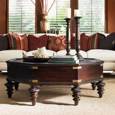 Tommy Bahama Home Royal Kahala Pacific Campaign Cocktail Table in Distressed Rich Dark Coffee - 01-0537-949