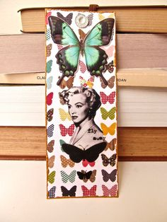 Unique Bookmark-Inspiring, Bookmark, Book mark, Handmade Bookmark, Marilyn Monroe, Butterfly Bookmark, Gift for Book Lover, One of a Kind by ladyjennd on Etsy