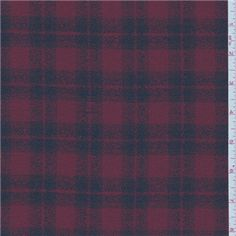 Navy/berry 100% wool plaid suiting