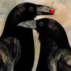 "Crows Ravens: "" by Guthrie Design, Salem, Oregon, USA. Crow Art, Raven Art, Bird Art, Jackdaw, Crows Ravens, Street Art, Guache, Bird Illustration, Folk Art"