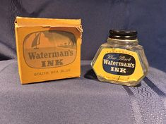 Waterman's South Sea Blue Ink Glass Bottle in Origianl Box 2 oz. South Seas, Home Decor Items, Glass Bottles, Gifts For Him, Unisex, Ink, Cool Stuff, Blue, Cool Things