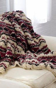 Crochet Soft Wave Chevron Throw -- fast to make with bulky yarn -- free pattern